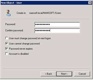 Create an Active Directory User