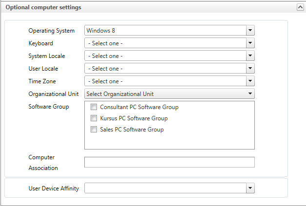Task Sequence Configuration